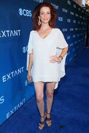 Annie Wersching put her pins on show in a super-short caped LWD during the premiere of 'Extant.'