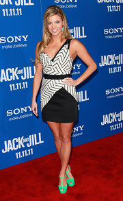 Amber Lancaster wore a black-and-white asymmetrical dress on the red carpet of 'Jack and Jill.'