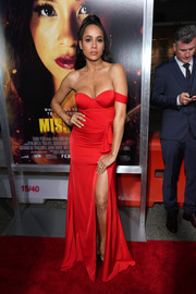 Dania Ramirez went for red-hot glamour in a high-slit off-the-shoulder gown by Elle Zeitoune at the premiere of 'Miss Bala.'