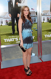 Leighton carried a black hard case clutch with her smoky blue dress at the 'That's My Boy' premiere.