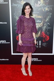 Perrey Reeves looked charming in a purple eyelet dress at the premiere of 'Sicario: Day of the Soldado.'