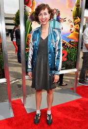 Kristen Schaal looked like a schoolgirl in her track jacket and day dress combo at the premiere of 'Cloudy with a Chance of Meatballs 2.'