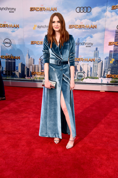 More Pics of Karen Gillan Tuxedo Dress (3 of 5) - Dresses & Skirts Lookbook - StyleBistro [spider-man: homecoming - arrivals,spider-man: homecoming,clothing,red carpet,carpet,denim,premiere,flooring,fashion,electric blue,jeans,textile,karen gillan,california,hollywood,tcl chinese theatre,columbia pictures,premiere,premiere]
