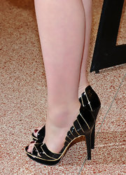 "Carey Mulligan sported a decadent pair of peep toe patent leather heels to ""The Greatest"" movie premiere. They were the stand out feature of her ensemble."