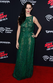 Eva Green was a stunner at the 'Sin City: A Dame to Kill For' premiere in a beaded emerald gown by Elie Saab Couture.