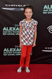 Aubrey Anderson-Emmons attended the 'Alexander and the Terrible, Horrible, No Good, Very Bad Day' premiere looking cute in a plaid peasant blouse and red pants.