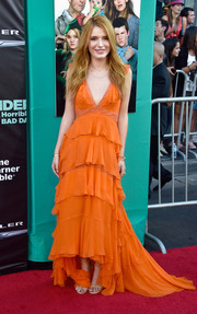 Bella Thorne looked quite the boho babe in a tiered orange fishtail gown by Alberta Ferretti at the premiere of 'Alexander and the Terrible, Horrible, No Good, Very Bad Day.'