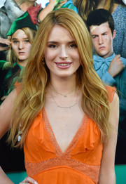 Bella Thorne wore her long hair loose with a side part and subtle waves during the premiere of 'Alexander and the Terrible, Horrible, No Good, Very Bad Day.'