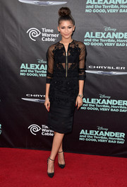Zendaya Coleman completed her sophisticated outfit with a matching embellished black Falguni and Shane Peacock pencil skirt.