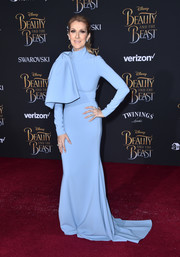 Celine Dion donned a sky-blue Christian Siriano fishtail gown with a giant bow hanging down one shoulder for the premiere of 'Beauty and the Beast.'