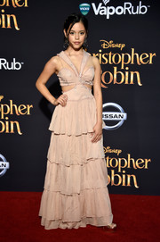 Jenna Ortega struck the perfect balance between edgy and sweet with this tiered pink cutout gown by Cinq a Sept at the premiere of 'Christopher Robin.'