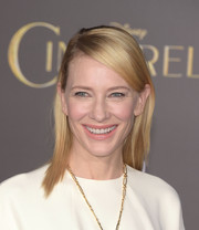 Cate Blanchett kept it minimal with this side-parted straight 'do at the Hollywood premiere of 'Cinderella.'