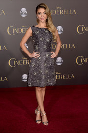 Sarah Hyland looked sweet and elegant in a crystal-embellished charcoal dress by Naeem Khan at the Hollywood premiere of 'Cinderella.'