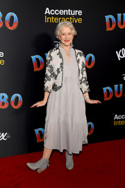 Helen Mirren layered a monochrome lace jacket over her dress for a chicer finish.