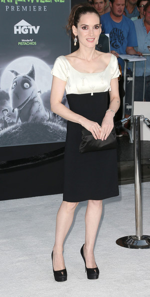Winona Ryder kept her look classic, pairing black platform pumps with her black-and-white dress.