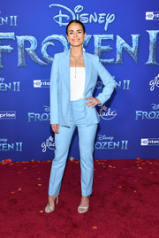 Jordana Brewster finished off her outfit with strappy silver heels.