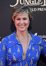 Melora Hardin looked stylish with her layered razor cut at the premiere of 'The Jungle Book.'