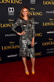 Emily Deschanel gleamed in a ruched silver cocktail dress by Isabel Marant at the premiere of 'The Lion King.'