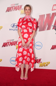 Judy Greer looked fetching in a red floral frock by Peter Pilotto at the premiere of 'Ant-Man and the Wasp.'