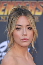 Chloe Bennet styled her hair into a high ponytail with face-framing tendrils for the premiere of 'Avengers: Infinity War.'