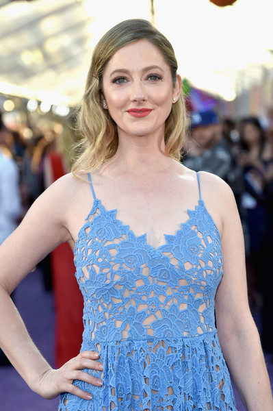 More Pics of Judy Greer Sundress (5 of 6) - Dresses & Skirts Lookbook - StyleBistro [guardians of the galaxy vol. 2,red carpet,hair,cobalt blue,clothing,blue,premiere,beauty,fashion,electric blue,dress,hairstyle,judy greer,dolby theatre,california,hollywood,disney,marvel,premiere,premiere]