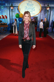 Lori Loughlin layered a black blazer over a striped pussybow blouse for the premiere of 'Mary Poppins Returns.'
