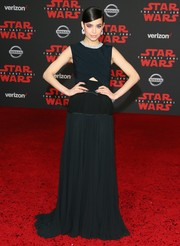 Sofia Carson chose a black Giambattista Valli gown with a small midriff cutout for the premiere of 'Star Wars: The Last Jedi.'