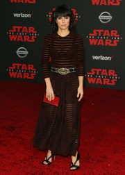 Constance Zimmer teased some skin in a burgundy sheer-striped dress by Ronny Kobo at the premiere of 'Star Wars: The Last Jedi.'