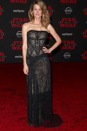 Laura Dern was goth-glam in a strapless black lace gown by Vivienne Westwood Couture at the premiere of 'Star Wars: The Last Jedi.'