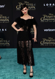 Sofia Carson looked beguiling in a sheer black cold-shoulder dress by Dolce & Gabbana at the premiere of 'Pirates of the Caribbean: Dead Men Tell No Tales.'