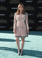 Carly Steel attended the premiere of 'Pirates of the Caribbean: Dead Men Tell No Tales' wearing a pink and gray lace-up dress.