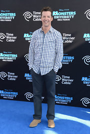 Sean Hayes kept his look casual and cool with a white and blue gingham button down.