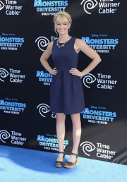 Beth Behrs wore a classic navy A-line dress to the 'Monsters University' premiere.
