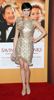 Victoria Summer dazzled in a ruffled gold cocktail dress at the premiere of 'Saving Mr. Banks.'