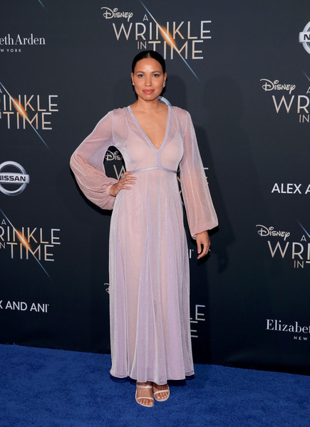 Jurnee Smollett-Bell paired her dress with strappy nude heels by Katy Perry Collections.