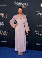 Jurnee Smollett-Bell went for bohemian glamour in a gauzy lilac maxi dress by Missoni at the premiere of 'A Wrinkle in Time.'