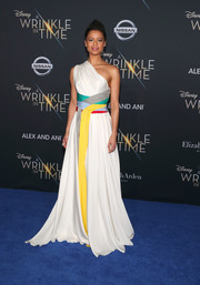 Gugu Mbatha-Raw looked divine in a white Vionnet one-shoulder gown with a multicolored waistband at the premiere of 'A Wrinkle in Time.'