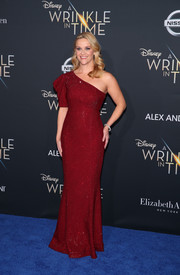 Reese Witherspoon looked perfectly polished in a sparkly red one-shoulder gown by Michael Kors at the premiere of 'A Wrinkle in Time.'