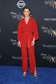 Ellen Pompeo was casual-chic in a belted red jumpsuit by Cienne at the premiere of 'A Wrinkle in Time.'