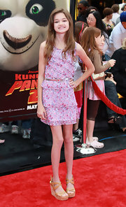 Ciara Bravo looked ultra girly at the 'Kung Fu Panda 2' premiere in a tiered floral dress.
