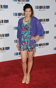 Hayley Kiyoko wore a colorful abstract-print romper underneath an unbuttoned purple blouse for a totally fun look.