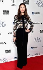 Jessica Biel chose an Elie Saab embellished-bodice jumpsuit for the premiere of 'The Book of Love.'
