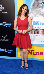 Jennifer Garner cut a sweet figure in a red skater dress by Alaia at the premiere of 'Nine Lives.'
