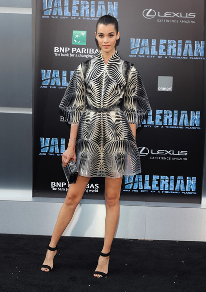 A black and silver box clutch completed Pauline Hoarau's perfectly coordinated attire.