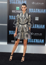 Pauline Hoarau was futuristic-chic in a black-and-white patterned mini dress by Iris van Herpen Couture at the premiere of 'Valerian and the City of a Thousand Planets.'