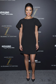 Rachel Smith donned a little black dress with flutter sleeves for the premiere of 'Z: The Beginning of Everything.'