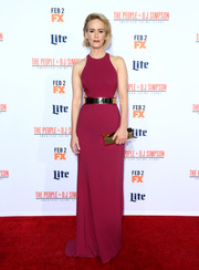 Sarah Paulson was minimalist-elegant in a wine-colored Stella McCartney gown, featuring side cutouts and a gold belt, at the premiere of 'American Crime Story: The People v. O.J. Simpson.'