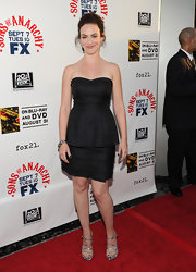 Maggie Siff looked stunning in a peplum cut strapless LBD at an FX season premiere gala.