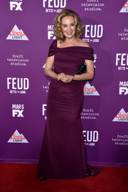 Jessica Lange exuded classic glamour in a plum off-the-shoulder gown by Christian Siriano at the premiere of 'Feud: Bette and Joan.'