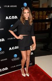 Jessica Alba wore a black two-piece by Narciso Rodriguez featuring a cropped top and mini skirt to the LA premiere of 'A.C.O.D.'